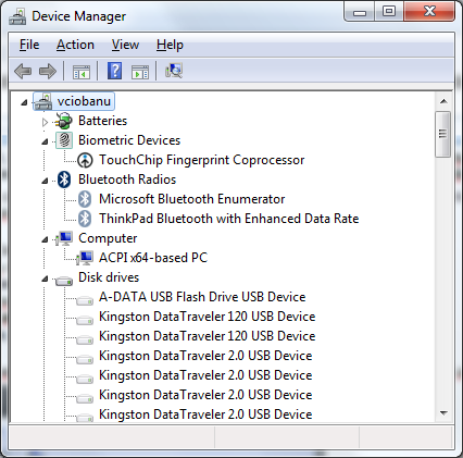 Device Manager with hidden devices