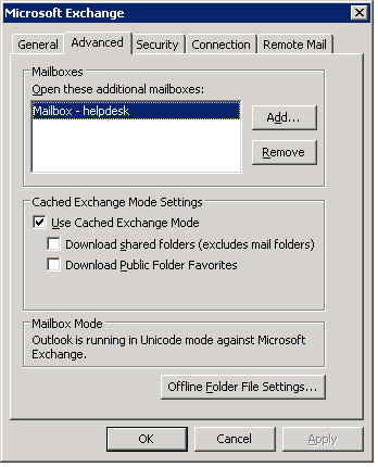 Exchange Shared MailBox - outlook configuration