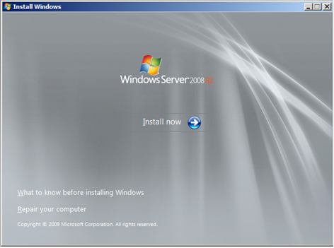 Install Windows Server 2008 wizard page 1