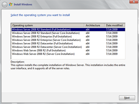 Install Windows Server 2008 wizard page 2