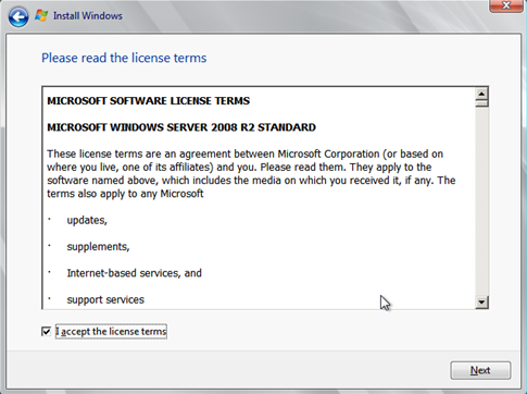 Install Windows Server 2008 wizard page 3