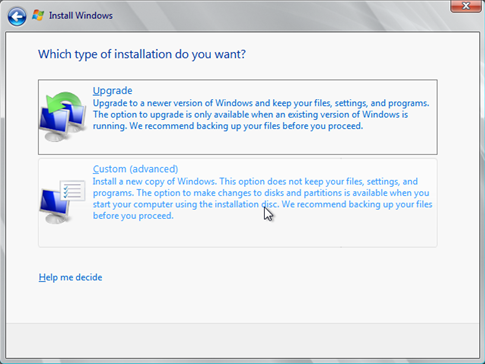 Install Windows Server 2008 wizard page 4