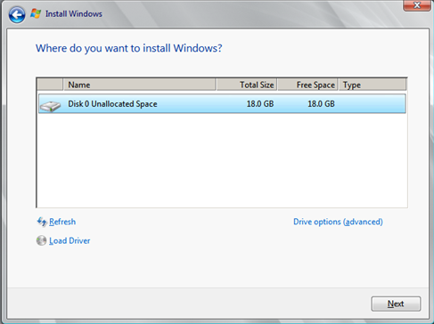 Install Windows Server 2008 wizard page 5