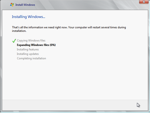 Install Windows Server 2008 wizard page 6