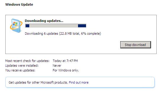 Windows Server 2008 update progress