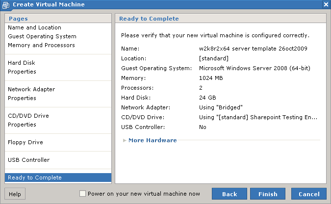 vmware create virtual machine ready to complete page