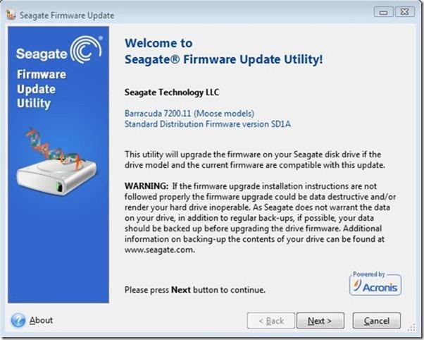 seagate firmware update